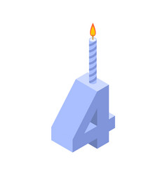 4 number and candles for birthday four figure for vector image