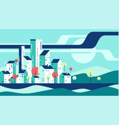 Abstract geometric flat style cityscape vector
