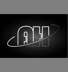Ah a h letter alphabet logo black white icon vector
