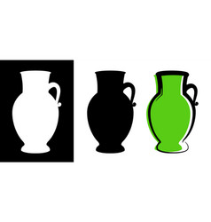 amphora image in green color and silhouettes in vector image