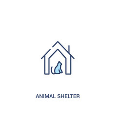 Animal shelter concept 2 colored icon simple line vector