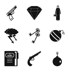 anti terrorism icons set simple style vector image