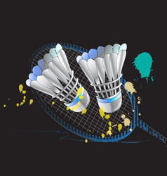 Backgrounds badminton racket and black dark vector
