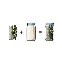 Bank of pickled cucumber sketch for your design vector