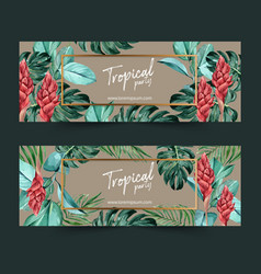 Banner design with tropical theme watercolor vector