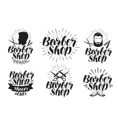 barber shop label set shave haircut beauty vector image