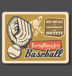 Baseball glove with ball and catcher player vector