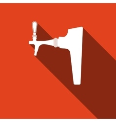 Beer tap icon with long shadow vector image