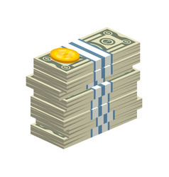Big stack of dollar bills vector