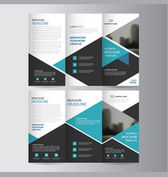 blue triangle business trifold leaflet brochure vector image