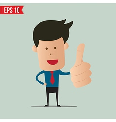 Cartoon business man showing thumbs up vector