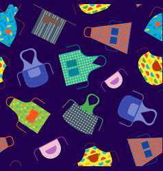 cartoon cooking aprons seamless pattern background vector image