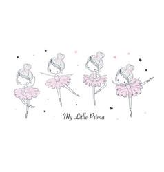 cartoon dancing ballerina set vector image