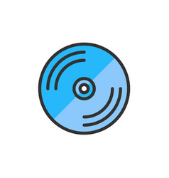 Cd disk dvd flat color line icon vector