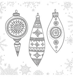 christmas coloring tree decoration baubles line vector image