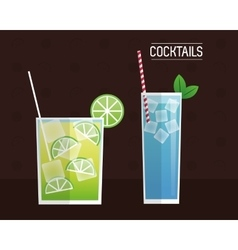 cocktails blue and mimosa black background vector image