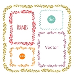 Color hand drawn frames set on white vector image vector image