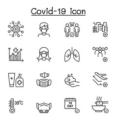 Covid-19 icon set in thin line style vector