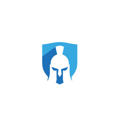creative abstract spartan helmet shield logo vector image