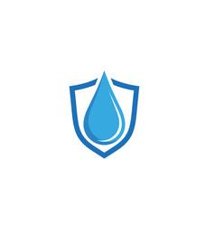 Creative blue shield drop logo vector