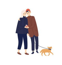 cute couple hugging hold gift box walking with dog vector image
