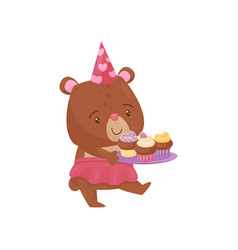 cute girl bear walking with tray of delicious vector image