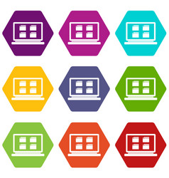 desktop icon set color hexahedron vector image