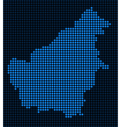 Dotted pixel borneo island map vector