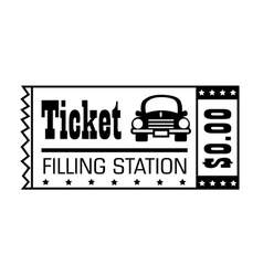 Filling station ticket icon vector