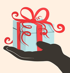 Gift Box - Present in Hand - Retro vector image