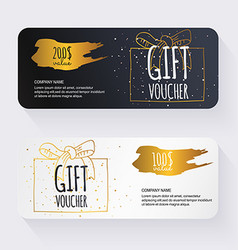 Gift voucher template with gold gift box Gift vector image