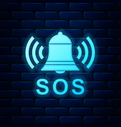 Glowing neon alarm bell and sos lettering icon vector