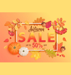 gold autumn sale banner vector image