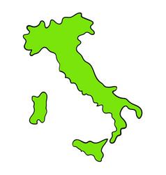 Green italy map icon cartoon vector