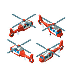 Helicopter isometric low poly avia transport vector