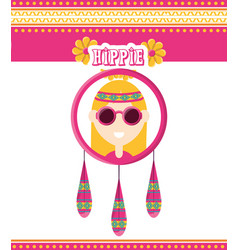 hippie woman concept peace and love vector image