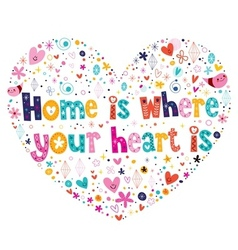 Home is where your heart is quote lettering heart vector