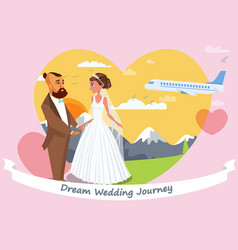 honeymoon poster layout with lettering vector image