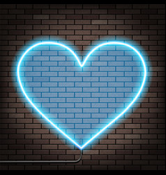 human heart of glowing neon lights brick wall vector image