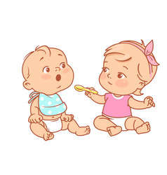 Little girl feed boy with spoon toy food vector