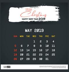 may 2019 new year calendar template brush stroke vector image