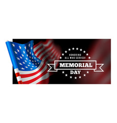 memorial day with waving flag vector image