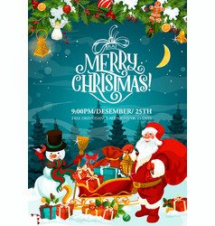 merry christmas santa party invitation card vector image