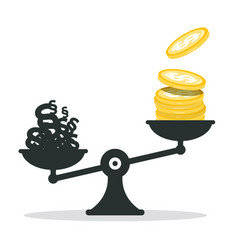 Money - dollar coins and paragraphs on scales vector