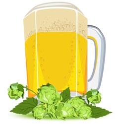 Mug of lager beer and green hops vector