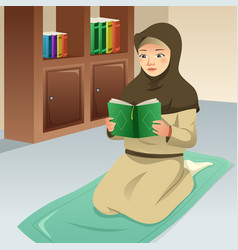 Muslim girl praying and reading quran vector