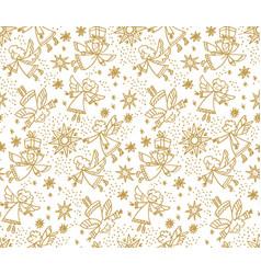 Naive hand drawn cute xmas angel seamless pattern vector