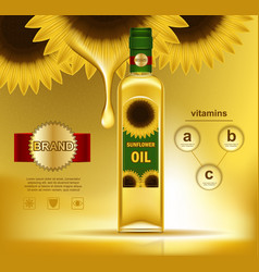 Oil liquid in bottle with sunflowers on top vector