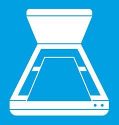 Open scanner icon white vector