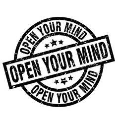 Open your mind round grunge black stamp vector